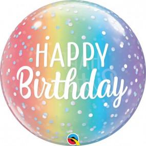 Balão Bubble Happy Birthday 55cm