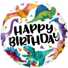Balão Dinossauros Happy Birthday 45CM