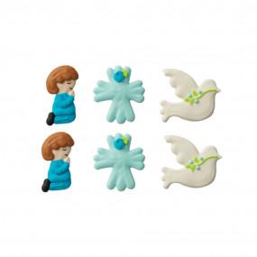 Figuras em Açúcar Comunhão Azul Conj. 6