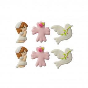 Figuras em Açúcar Comunhão Rosa Conj. 6