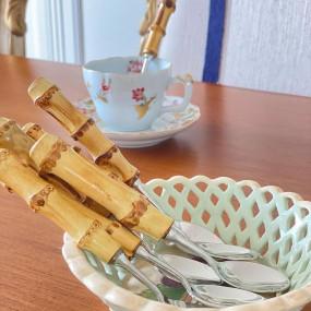 6 Colheres Café Prata com Bambu Natural