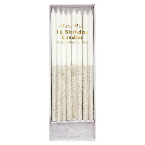 Velas Altas Brancas Glitter Prata