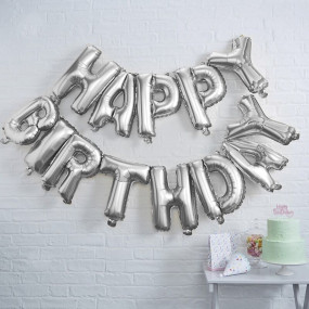 Grinalda Balões Happy Birthday Prata
