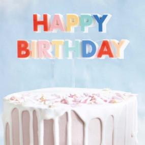 Topo Bolo Happy Birthday Acrilico