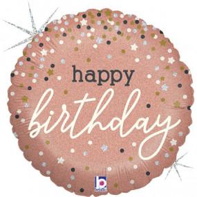 Balão Happy Birthday ROSE GOLD 46cm