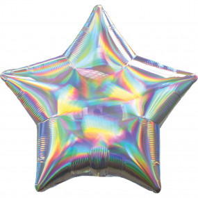 Balão Estrela Holográfica Prata