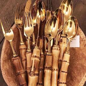 6 Colheres Café Dourado com Bambu Natural