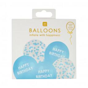 5 Balões Pastel Happy Birthday Azul