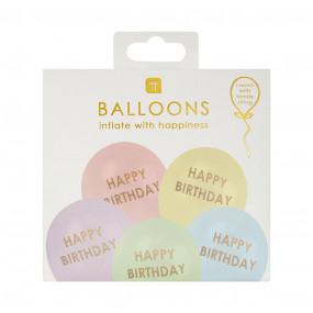 5 Balões Pastel Happy Birthday Pastel