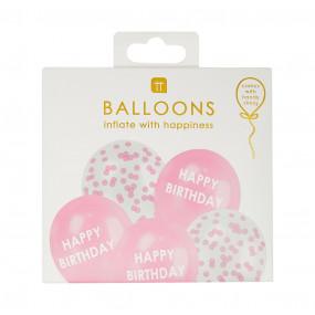 5 Balões Pastel Happy Birthday Rosa