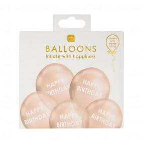 5 Balões Pastel Happy Birthday Rosegold