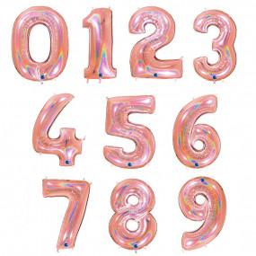 Balão Grande Número Rosegold GLITTER