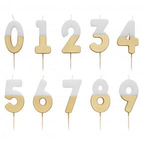 Vela Número Branco Dourado