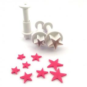 Conj. 3 Mini Cortadores Estrelas
