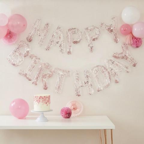 Grinalda Balões Happy Birthday Confetis