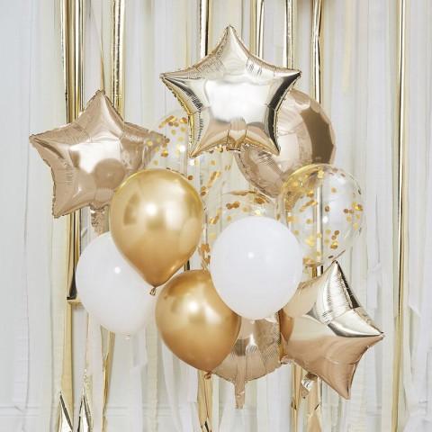 Bouquet Balões Dourados e Brancos