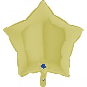 Balão Estrela Amarelo Pastel 46cm