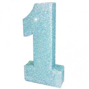 DECOR Número 1 Azul Glitter