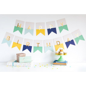 Grinalda Happy Birthday Menta, Amarelo, Azul
