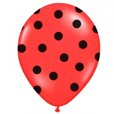 6 Balões Encarnados Bolinhas Pretas