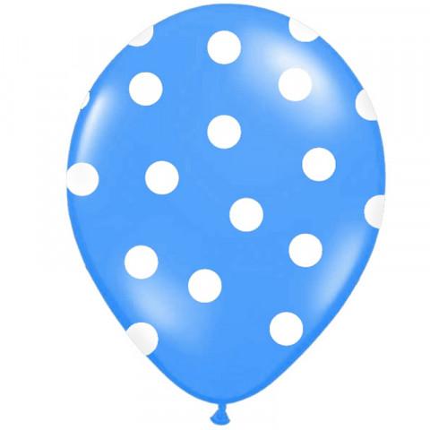 6 Balões Azul Bolinhas