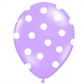 6 Balões Lilás  Bolinhas