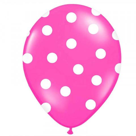6 Balões Rosa Forte Bolinhas