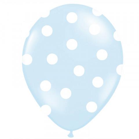 6 Balões Azul Claro  Bolinhas