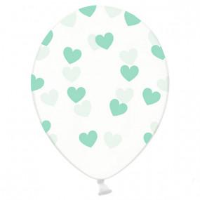 6 Balões Corações Menta Impressos