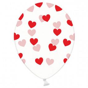 6 Balões Corações Vermelhos Impressos