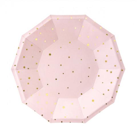 Pratos Rosa Estrelas Gold