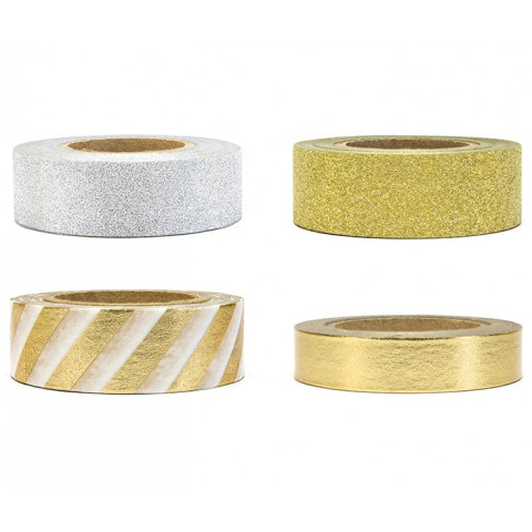 Washi Tape Deco Gold Silver Glitter