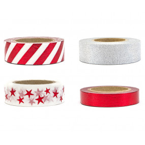Washi Tape Deco Red and Glitter