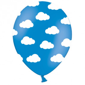 6 Balões Azuis Nuvens