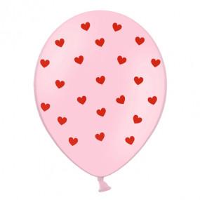 6 Balões Corações Rosa Impressos