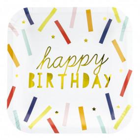 Pratos Happy Birthday Gold