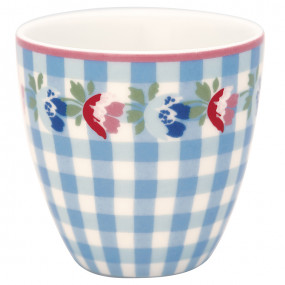 Greengate Mini Latte Cup Viola Check Pale Blue