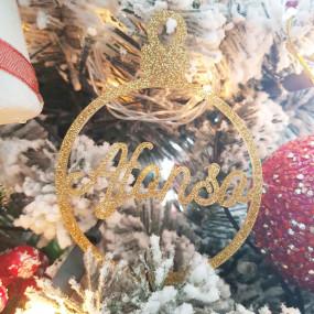 Bola Natal Personalizada Glitter Dourado