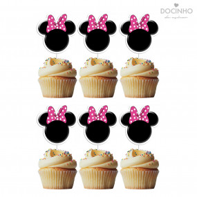 6 Toppers Cabeça Minnie Rosa
