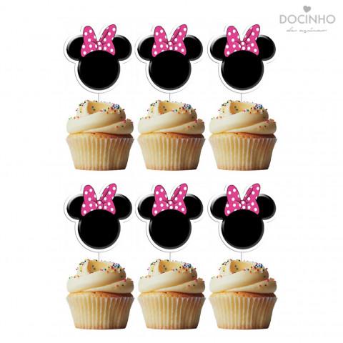 6 Toppers Cabeça Minnie Rosa