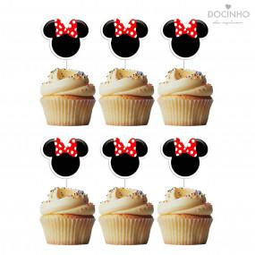 6 Toppers Cabeça Minnie Vermelha