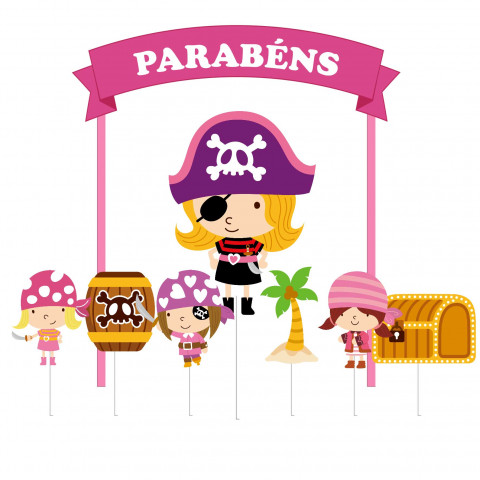 Topo Bolo Pirata Menina