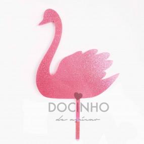 Topo Cisne Rosa Glitter