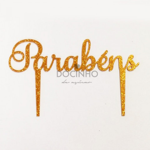 Topo Bolo Dourado Glitter