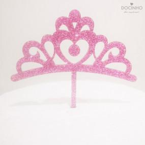 Topo Bolo Coroa Glitter