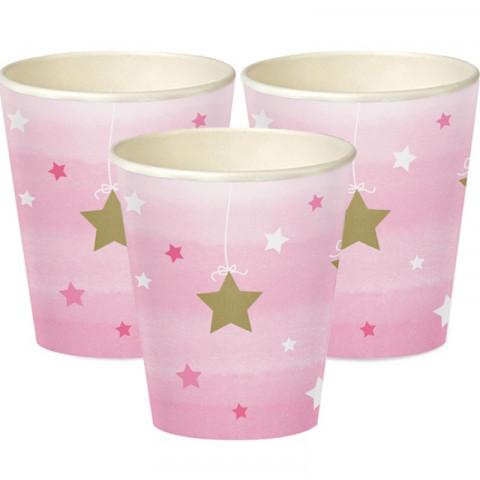 Copos Rosa Estrelas