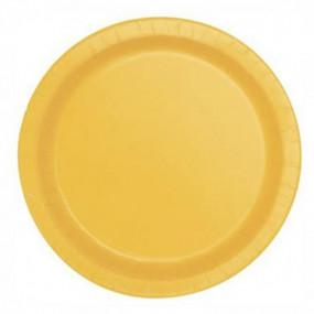 8 Pratos Amarelo Subflower 23cm