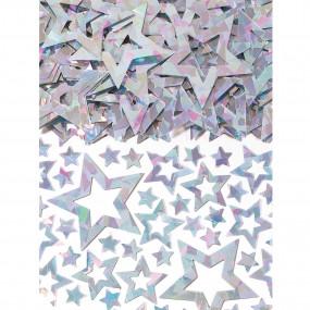 Confetis Estrelas Prata Iridiscente