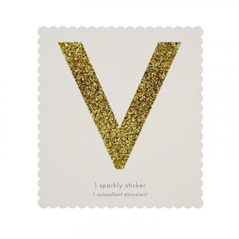 Letra Autocolante Glitter - V