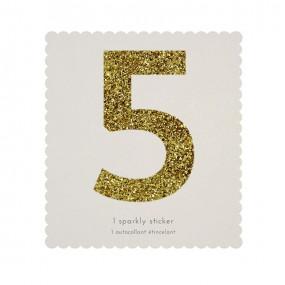 Número Autocolante Glitter - 5
